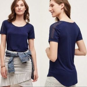 ANTHROPOLOGIE Lace Trim Tee Navy Blue {FF34}